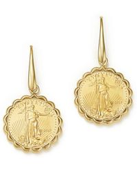 Bloomingdale's - Coin Drop Earrings In 14k Yellow Gold - Lyst