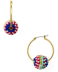 Rebecca Minkoff - Beaded Hoop Earrings - Lyst