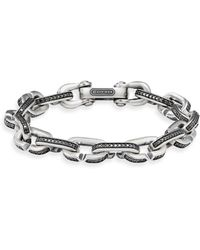 David Yurman - Sterling Silver Diamond Bracelet - Lyst