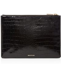 Whistles - Small Shiny Croc-embossed Leather Clutch - Lyst