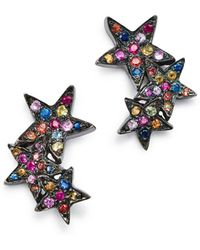 Shebee - Sterling Silver Multicolour Sapphire Star Ear Climbers - Lyst
