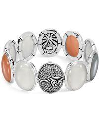 John Hardy - Sterling Silver Bamboo Bracelet With Gray Pavè Diamonds & Multi-colored Moonstones - Lyst