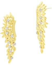 Freida Rothman - Fleur Bloom Angel Wing Earrings In 14k Gold-plated & Rhodium-plated Sterling Silver - Lyst