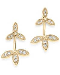 Adina Reyter - 14k Yellow Gold Double Flower Diamond Drop Earrings - Lyst