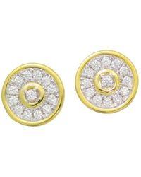 Frederic Sage - 18k White & Yellow Gold Firenze Diamond Disc Stud Earrings - Lyst