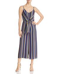 Aqua - Tie-front Striped Wide-leg Jumpsuit - Lyst