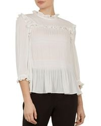 531bb3192ce Ted Baker Imygen Off The Shoulder Top in Blue - Lyst
