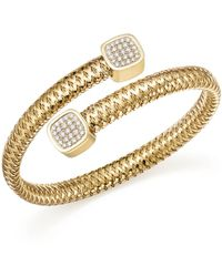 Roberto Coin - 18k Yellow Gold Primavera Diamond Capped Bangle - Lyst