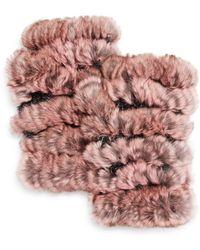 Jocelyn - Plucked Rabbit Fur Fingerless Mittens - Lyst