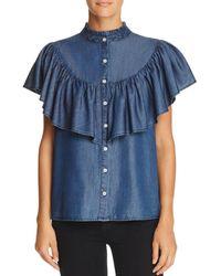Aqua - Ruffled Chambray Western Shirt - Lyst