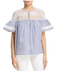 Scotch & Soda - Crochet Stripe Bell Sleeve Top - Lyst