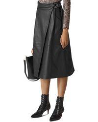 09c61eb1eebb Lyst - Whistles Kel High-rise Leather Skirt in Black