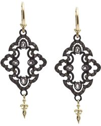 Armenta - 18k Yellow Gold And Blackened Sterling Silver Old World Champagne Diamond And White Sapphire Scroll Drop Earrings - Lyst