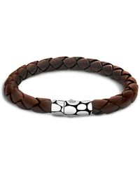 John Hardy - Men's Kali Silver Brown Woven Leather Bracelet - Lyst