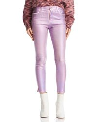 J Brand - Alana Coated Crop Skinny Jeans In Pink Prism - Lyst