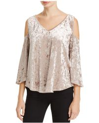 Status By Chenault - Crushed Velvet Cold Shoulder Top - Lyst
