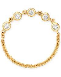 Zoe Chicco - 14k Yellow Gold Diamond Chain Ring - Lyst