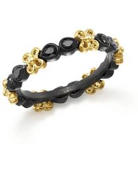 Armenta - 18k Yellow Gold And Blackened Sterling Silver Old World Black Sapphire Stacking Ring - Lyst
