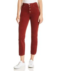 AG Jeans - Isabelle Straight Corduroy Jeans In Tannic Red - Lyst