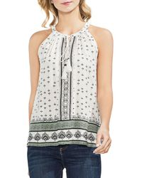 Vince Camuto - Sleeveless Tie-neck Printed Top - Lyst