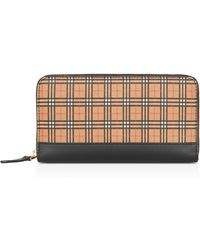 Burberry - Small-scale Check Leather Zip-around Wallet - Lyst