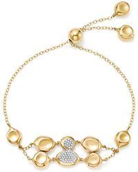 Ippolita - 18k Yellow Gold Onda Diamond Double Row Pebble And Chain Bracelet - Lyst