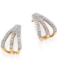 Adina Reyter - 14k Yellow Gold Pavé Diamond Triple Huggie Hoop Earrings - Lyst