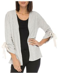 B Collection By Bobeau - Nia Ruched-sleeve Open Cardigan - Lyst