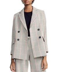 Maje - Voldi Checked Double-breasted Blazer - Lyst