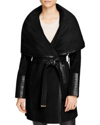 Via Spiga - Belted Faux Leather Trim Coat - Lyst