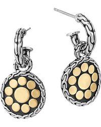 John Hardy - 18k Yellow Gold & Sterling Silver Small Dot Round Drop Earrings - Lyst