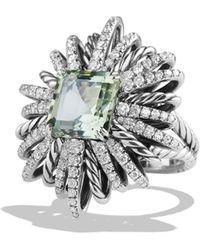 David Yurman - Starburst Ring With Diamonds And Prasiolite In Silver - Lyst