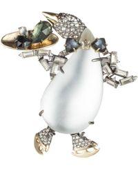 Alexis Bittar - Crystal Skating Penguin Pin - Lyst