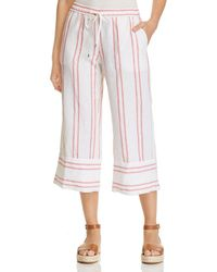 Tommy Bahama - Marcella Embroidered - Stripe Cropped Linen Pants - Lyst
