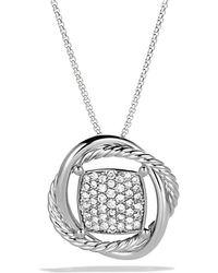 David Yurman - Infinity Pendant With Diamonds In Gold On Chain - Lyst