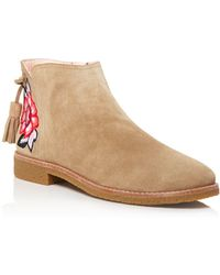 Kate Spade - Bellville Embroidered Suede Booties - Lyst