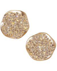 Antonini - 18k Rose Gold Anniversary Small Pavé Champagne Diamond Earrings - Lyst