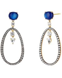 Nadri - Ivy Blue Hoop Earrings In 18k Gold-plated Sterling Silver - Lyst