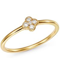 KC Designs - 14k Yellow Gold Diamond Clover Stacking Ring - Lyst