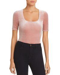 Aqua - Velvet Square-neck Bodysuit - Lyst