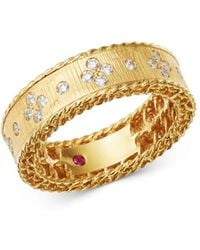 Roberto Coin - 18k Yellow Gold Princess Diamond Round Ring - Lyst