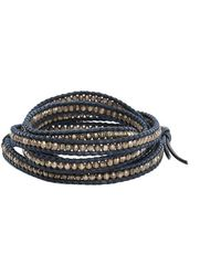 Chan Luu - Antique Silver Bead On Navy Leather - Lyst