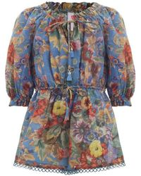 Zimmermann - Lovelorn Floral Playsuit - Lyst