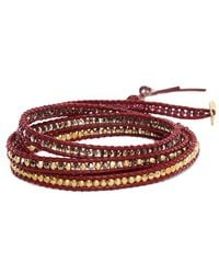 Chan Luu - Mix Bead On Maroon Leather Wrap - Lyst