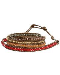 Chan Luu - Multi Stone Mix Wrap Bracelet On Kansas Leather - Lyst