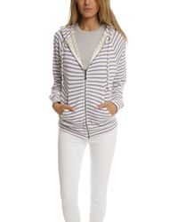 V :: Room - V::room Gauze Fleece Boarder Basic Long Sleeve Zip Hoody White/purple - Lyst