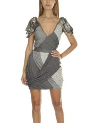 Coven - Silver Beaded Dress - Lyst