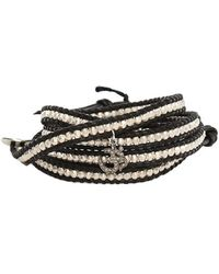 Chan Luu - Silver Bead On Black Leather Wrap Bracelet With Diamond Charm - Lyst