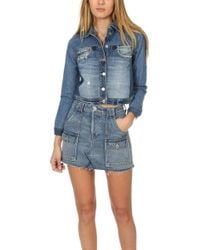 c3fa19d80897 RE DONE + Levi s Cropped Two-tone Denim Jacket in Blue - Lyst