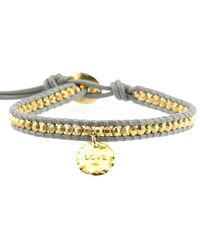 Chan Luu - Gold Bead On Coconut Leather Bracelet With Love Charm - Lyst